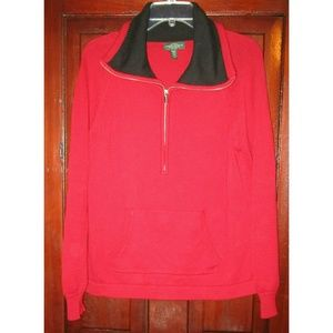 Ralph Lauren Jeans Co Petite L Sweater Top Red Zip